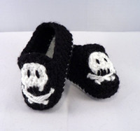 Crochet Shoes baby rock shoes - 15 off Pirate skull baby moccasin crochet shoes punk rock rockabilly style black and white pairs