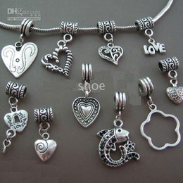 Wholesale 200pcs Mix LOVE Heart Beads tibet Silver dangle beads charms