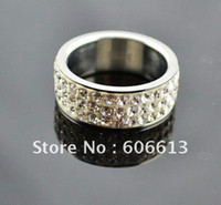 Wholesale Silver Stainless Steel Crystal Shamballa Rings Rhinestone rings