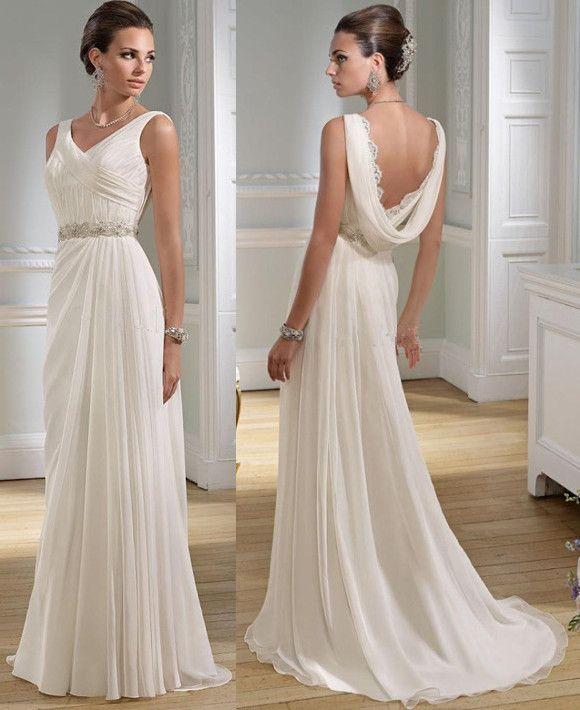 Sexy V Neck Greek A Line Chiffon Summer Wedding Dresses