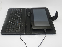 Wholesale 7 inch Keyboard Smart Leather Cover Case For inch Tablet PC Ainol PIPO CUBE With Micro USB Plug