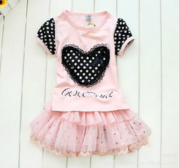 2-6Year Summer Babys suit Baby's clothes girls clothing Love Tshirt+Tutu skirt 2pcs children sets