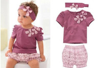 Wholesale AMISSA Baby Clothing Sets Butterfly Headband T Shirt Lace Pants Clothing Set Baby Clothes