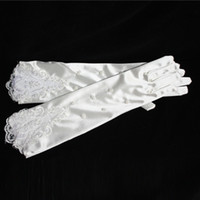 Wholesale Elbow length White Ivory Finger Beaded Lace Satin Cotton Long Bridal wedding Gloves Party Accessorie