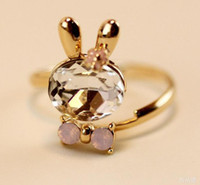 Wholesale 2013 Women s Diamond Rabbit Bow Opening Rings Girls Valentine s Day Ring