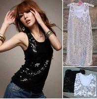 Wholesale Camisole Women sequin vest hot fashion cotton tank tops glitter sleeveless colors can choose