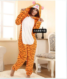 Wholesale Retail Cosplay Costume Fleece lovely Tiger Winter Pyjamas Adult Sleepsuit Kigurumi Pyjamas