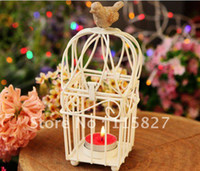 Wholesale Wedding lantern Iron Candle Holder birdcage wedding gift Square house decoration square shape