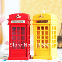 Wholesale Min order mixed items UK Style Telephone Booth wooden Money Saving Box Painted Retro Telephone Box
