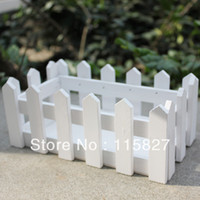 Wholesale White Color Wooden Fence Artificial Flower Pot Wooden Vase Flower Holder Home or garden Decoration cm