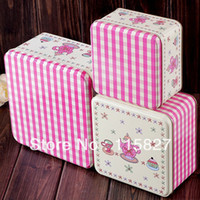 tin cans - set PINK square metal case Tin storage box sundries container cake box candy can