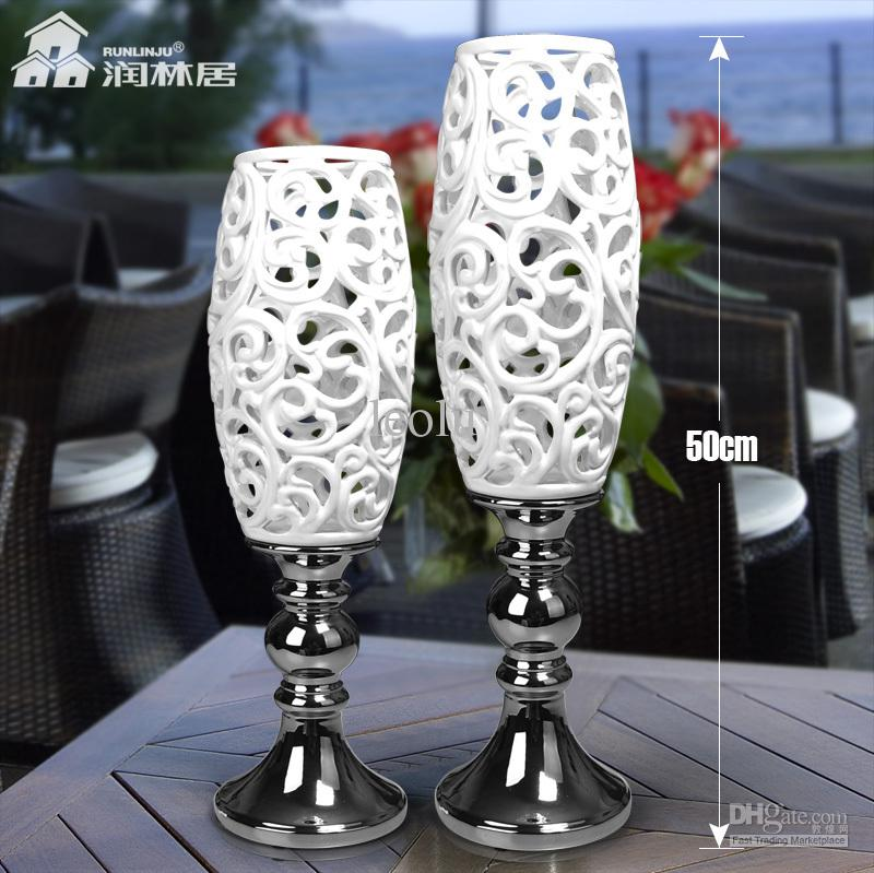 Silver Plated Cutout Ceramic Vase White Porcelain Decoration Modern Fashion Decoration Crafts Home Accessories
