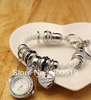 Wholesale JW012 Ladies Fashion Korea Style Genuine Leather Bracelet Heart Multi Pendant Bracelet Watch Women D