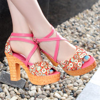 Women other PU 2013 waterproof wedges sandals decorative pattern cloth high-heeled sandals sk1745 55