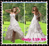 Sweetheart beach wedding bubbles - 2015 Lace up Fashion Bubble High Low Skirt Sweetheart White Ivory Satin A Line Beach Wedding Dresses Informal Bridal Reception Dresses Cheap