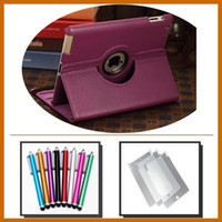 Wholesale 360 Degree Rotating leather PU for ipad case and stylus pen and screen protector ppcs