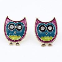 Wholesale Cartoon Cute Owl Stud Earrings Fashion Retro Cheap Inlay Diamond Stud Earring KC