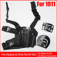 Wholesale 1911 Tactical Puttee Thigh Belt Drop Leg Holster Pouch Pistol Black VIA Chinapost