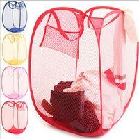 Wholesale 20pcs Free Shippint Laundry Hamper Mesh Pop Up Collapsible Easy Open Bag Basket Foldable Travel Bag