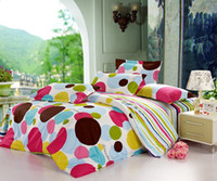 Adult Twill 100% Cotton Cheap Strips Polka Dot Nature cotton Full Queen bedding sets duvet quilt covers comforter set 4-5pc