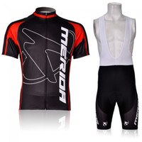 Wholesale arrival Merida black red Team Cycling short sleeve Bike jersey bib shorts