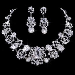 Floral Diamond Wedding Costume Necklace Earring 1Set Crystal Rhinestone Alloy Bridal Frontlet