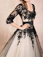 Wholesale Elegant Long Sleeves Scoop Poet Tulle Ball Gown Evening Prom Dress With Black Lace Applique BO0447