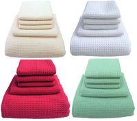 Rectangle waffle towels - 5PC Microfiber Waffle Weave Towels Set Microfibre Bath Drying Towel Handtowel Washcloths Sets