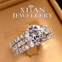 Wholesale Price Hot Sell K White Gold Plated Classic Round Cut Ring Set Including single rings R