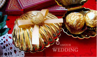 Wholesale 50Pcs Sweet Wedding Favors Candy Boxes Gold Color Gift Boxes The Shell Desgin