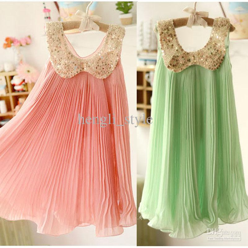2017 Girls Summer Dress Children Sequined Lapel Sleeveless Chiffon ...