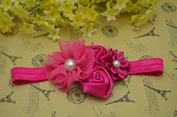 Wholesale Trail order hot pink satin rose chiffon flower FOE Headbands satin ribbon flower headbands