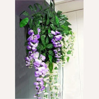 Wholesale Artificial Silk Wisteria Fake Flower Vine Wedding Decor Garden Plant White Purple