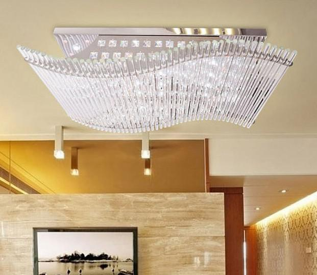 Modern Minimalist LED K9 Crystal Rectangular Ceiling Lamp Dining Room Chandelier Remote Control Ligh Lights