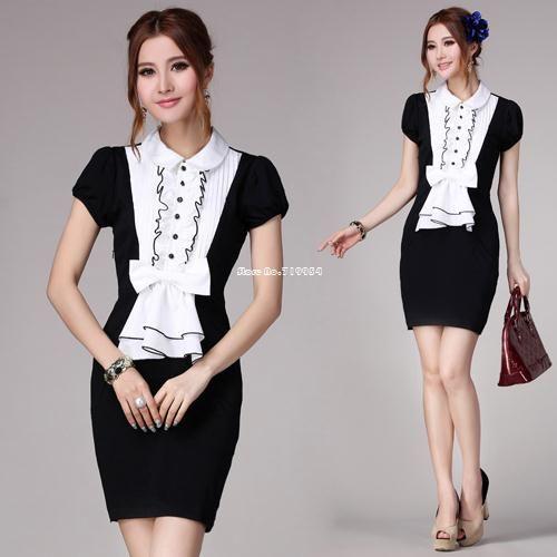 office lady dress black and white stitching bowknot fold