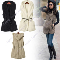 Wholesale Fashion Womens Ladies Hoodie Faux Lamb Fur Long Vest With Hat colors