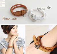 asian crafts - Fashion Leather Buckle Bracelet Belt type Charm Bracelets Braided Crafts Link Chain Decorative