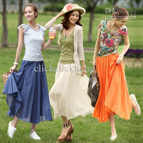 2017 Top Quality Cotton Bohemian Women Fashion Long Skirt Casual ...