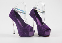 Wholesale 2012 Purple Ankle Strappy Peep Toe High Platform Stiletto Dress Shoes Colors