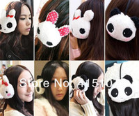 Wholesale 50pcs Newest Cartoon plush cute panda design keep warm winter Warm Earmuffs earflap cute cartoon earcap