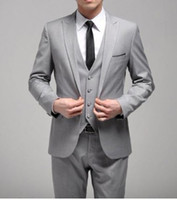 Wholesale New Custom Made One Button Slim Fit Light Grey Groom Tuxedos Side Slit Groomsmen Men Wedding Dinner Suits Jacket Pants Tie Vest H129