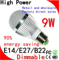 Wholesale 5pcs Dimmable Bubble Ball Bulb AC85 V W E14 E27 B22 GU10 High power Globe light LED Light Bulb