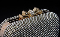 Wholesale New butterfly Clear Crystals Hard Case Purse Clutch Cocktail Boxes Evening Bag