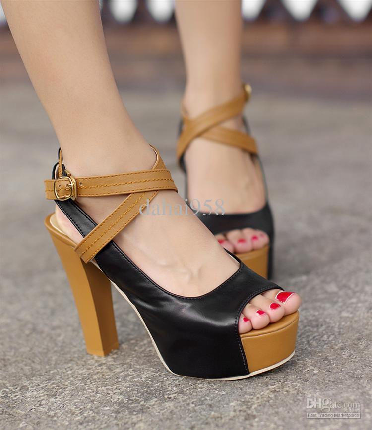 Women's Sexy Open Toe Hasp Ultra High Heels Platform Sandals Plus ...