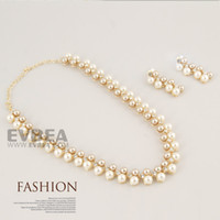 Wholesale EVBEA Fashion Plastic Pearl Women Necklace Earring Handmade Costume Jewelry Set Necklace