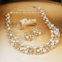 Wholesale EVBEA Sexy Popular Fashion Designer Plastic Imitated Pearl Beads Necklace And Earring Sets