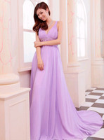 V-Neck long dresses - Purple wedding toast the bride wedding dress evening dress deep v neck condole belt long dress