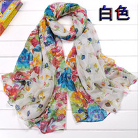 Wholesale Hot sales Flowers Printed Chiffon Scarves Fashion Women Beach Scarf Mixed Colors FX