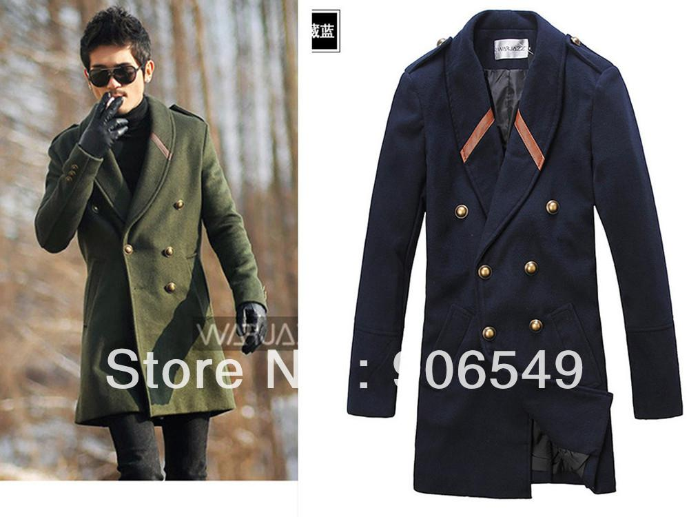 Mens Jacketsfree Shipping 2012 New Men'S Double Breasted Wool Long