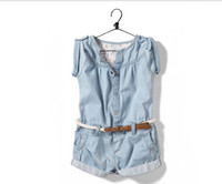 Wholesale Baby girls Summer Denim short sleeve jumpsuit wash blue Jeans Cool pants kids girl clothing